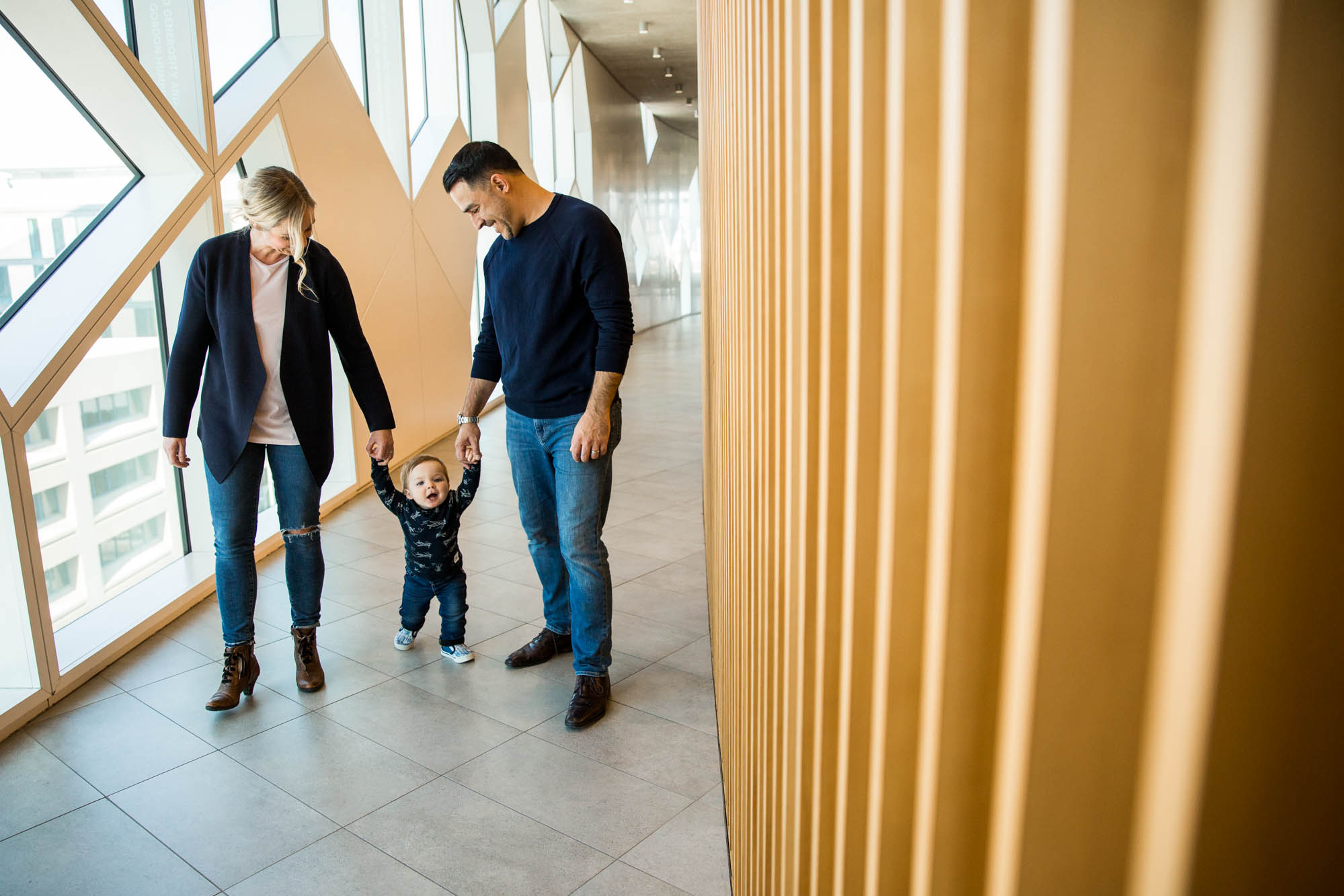 Family photography session at the Calgary Central Library