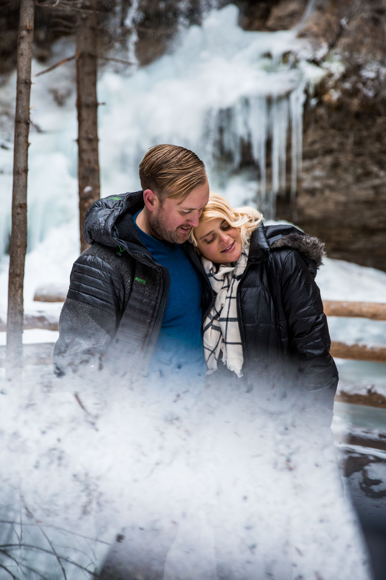 Calgary wedding photographer - Troll Falls Kananaskis engagement photography