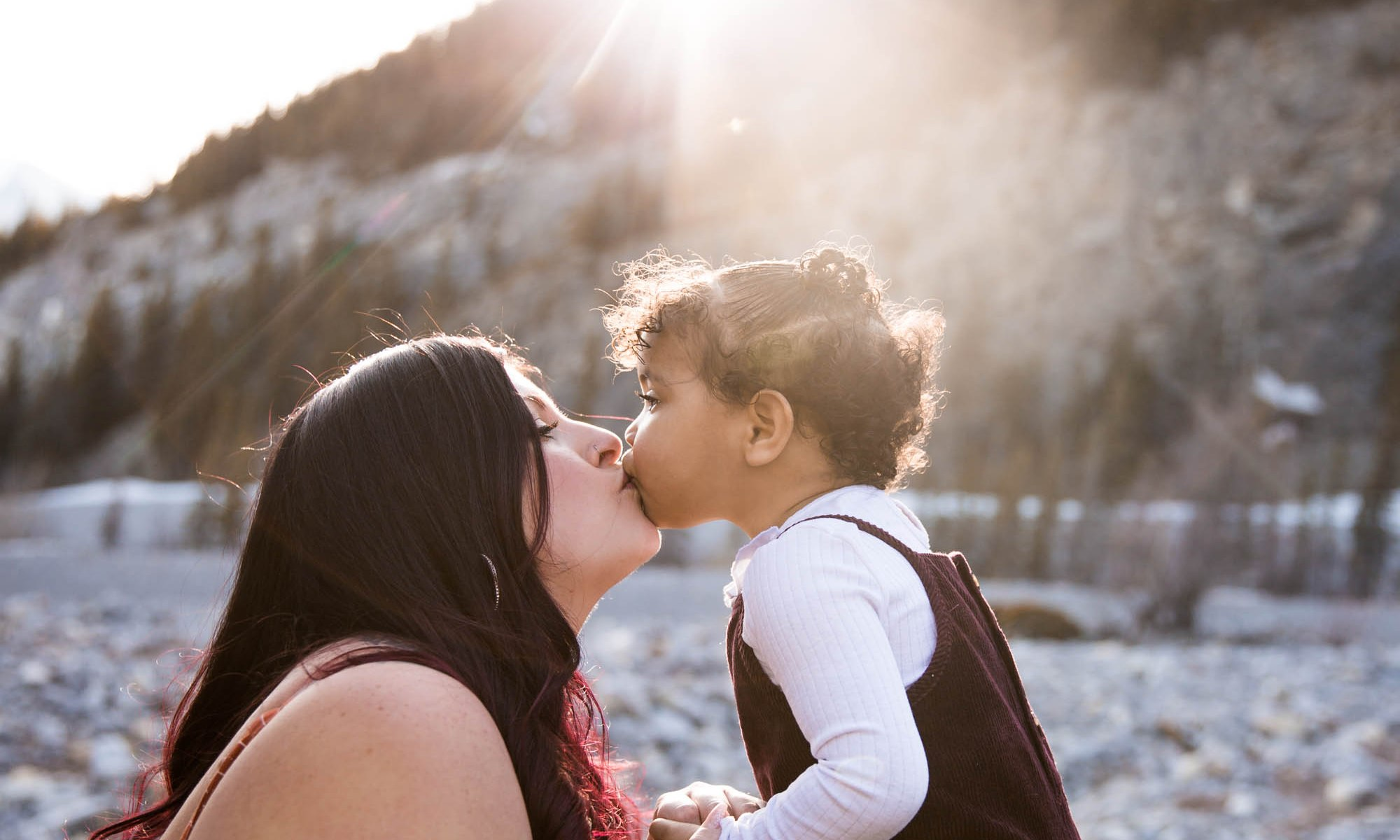 Calgary family photographer, mommy and me photography session in a canyon in the Kananaskis mountains