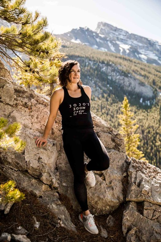 Calgary branding and headshot photographer, photo of a fitness coach in the mountains