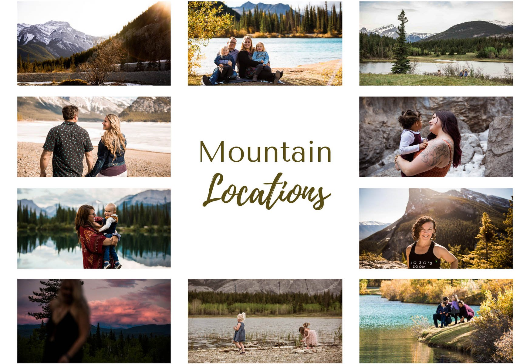 Calgary photographer, list of mountain locations for a family, engagement or branding photo session