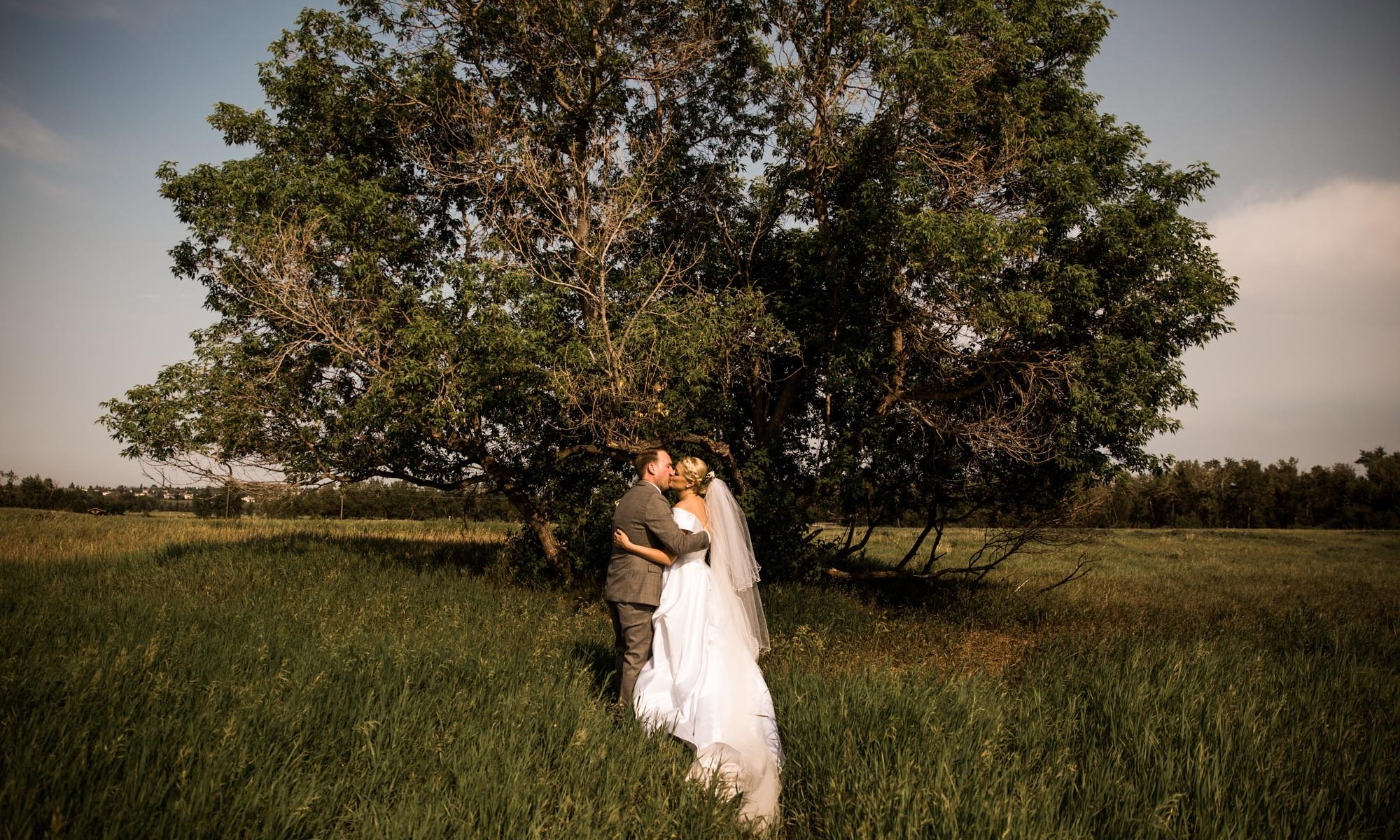 Calgary wedding photographer, the bride and groom sharing an intimate moment at Fish Creek Park in Calgary