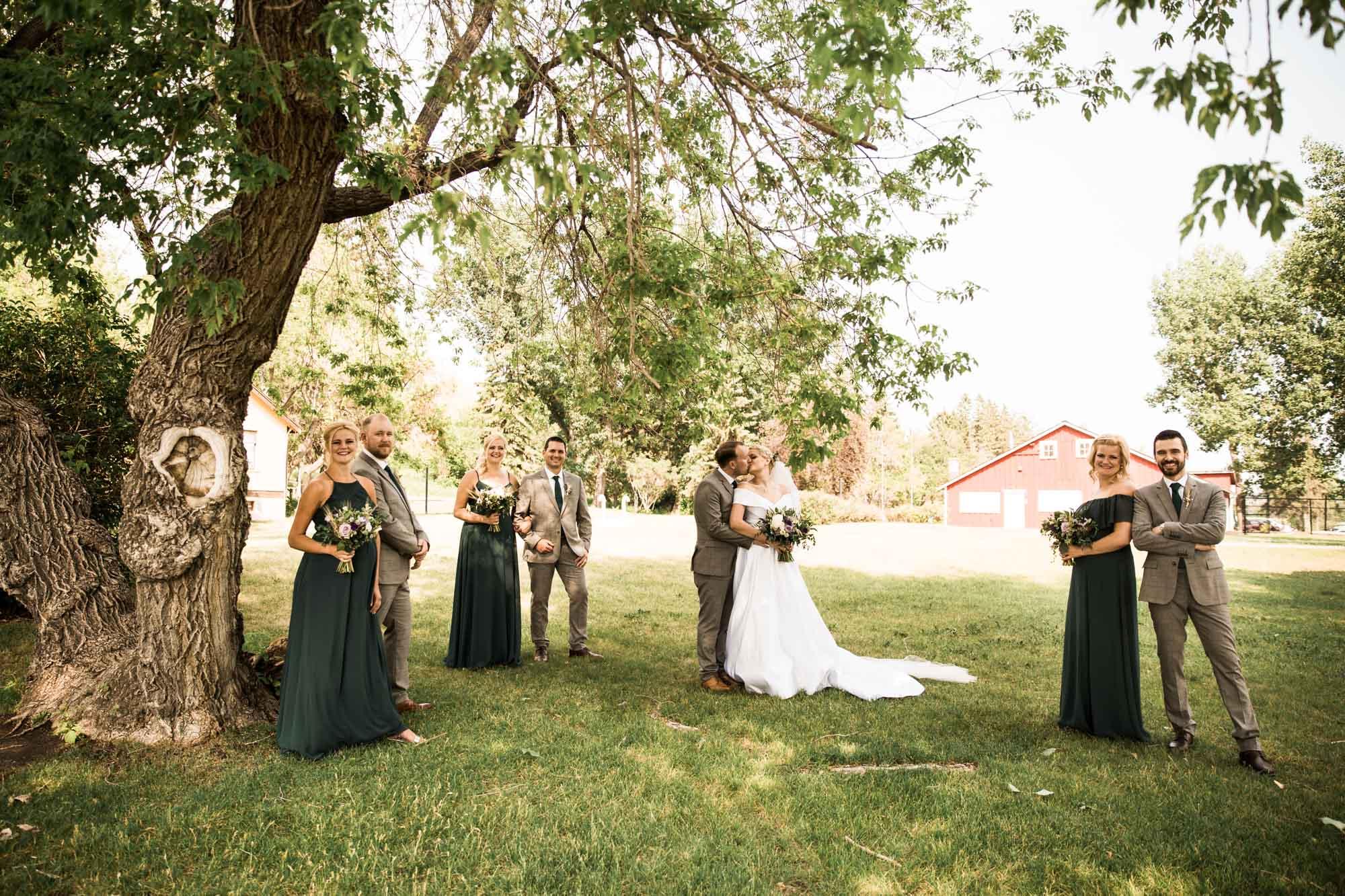 Calgary wedding photographer, the bridal party at Fish Creek Park in Calgary