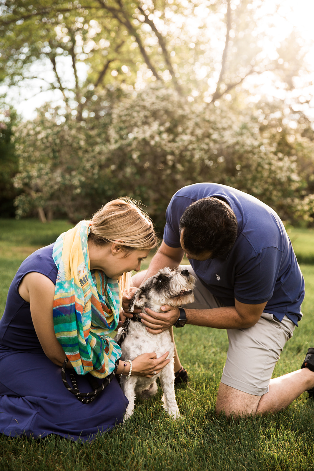 Calgary wedding photographer, a photo sessions with couple and their dog at Baker Park