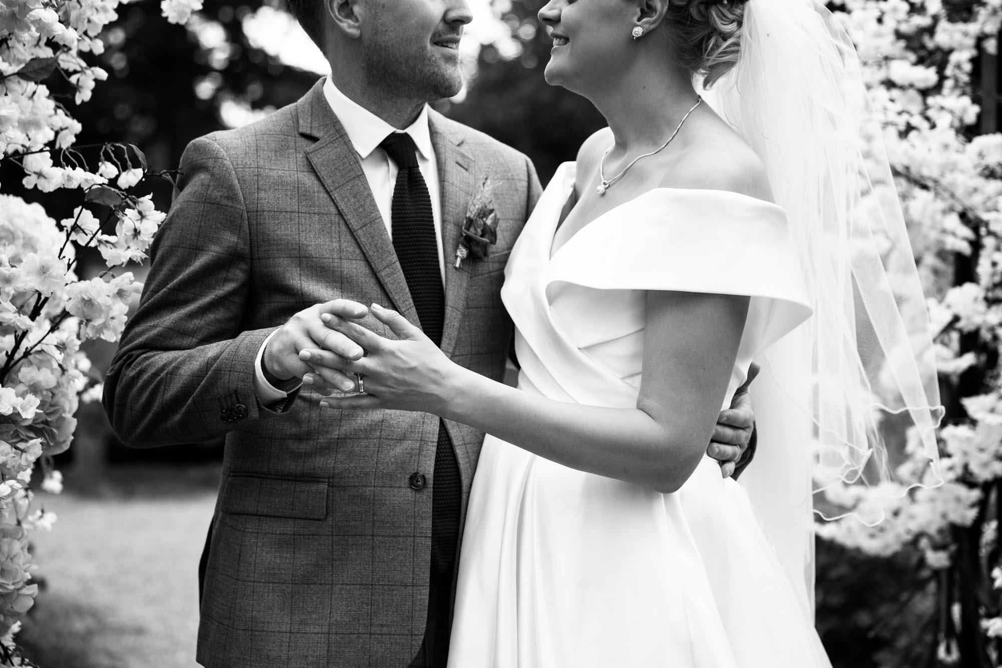Calgary wedding photographer, portrait of the bride and groom at Fish Creek Park
