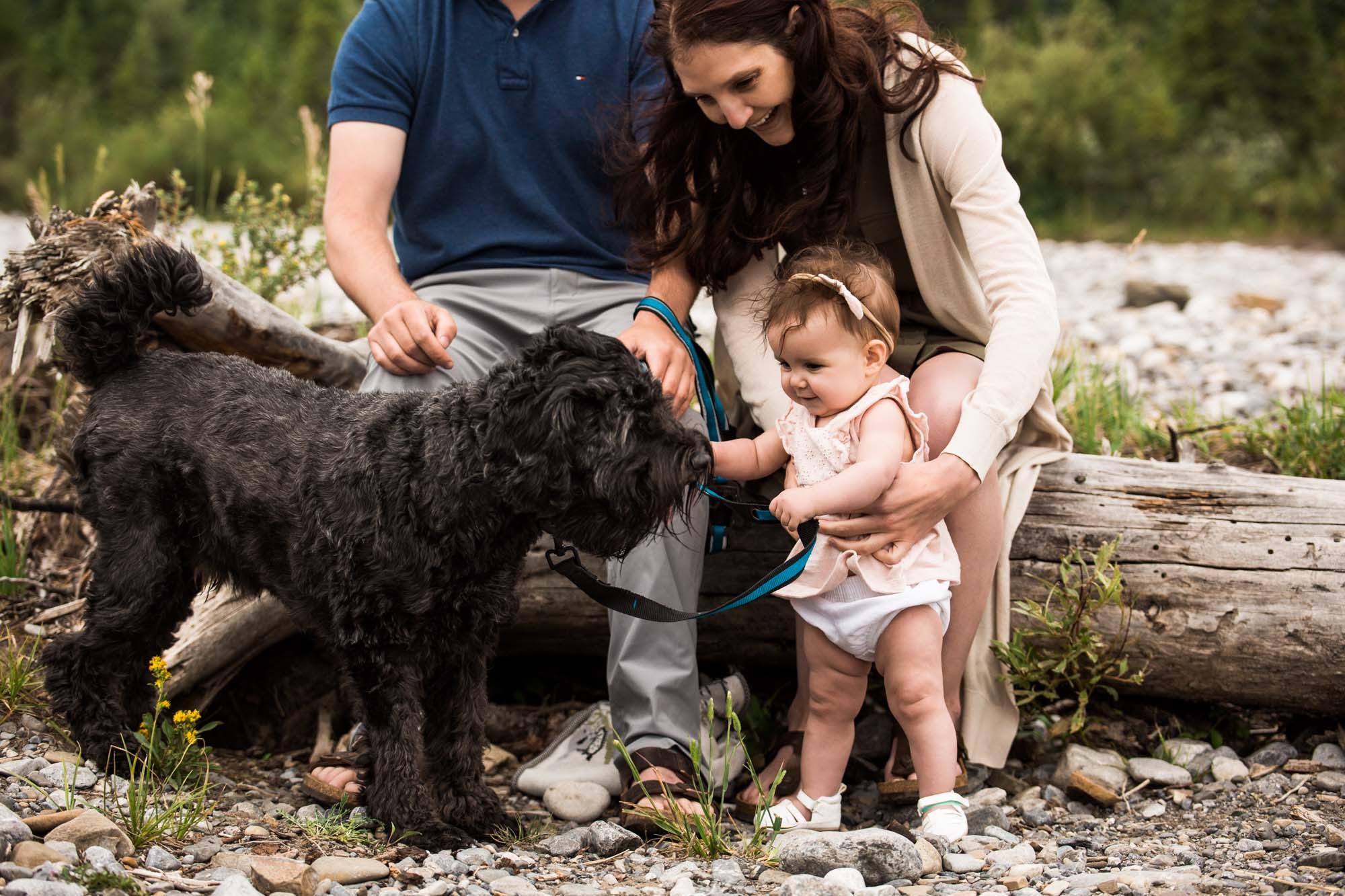 Calgary family photographer, mountain photos, family by the water in the Kananaskis