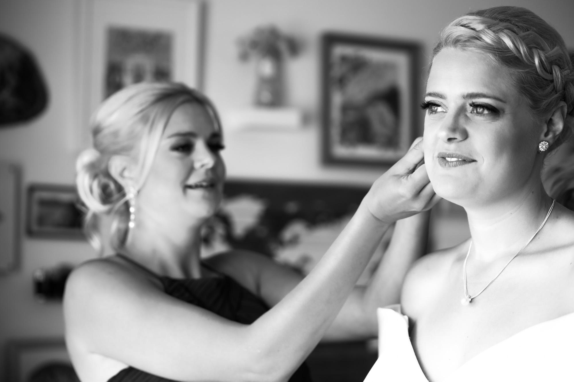 Calgary wedding photographer, the bride and groom getting ready for their wedding ceremony