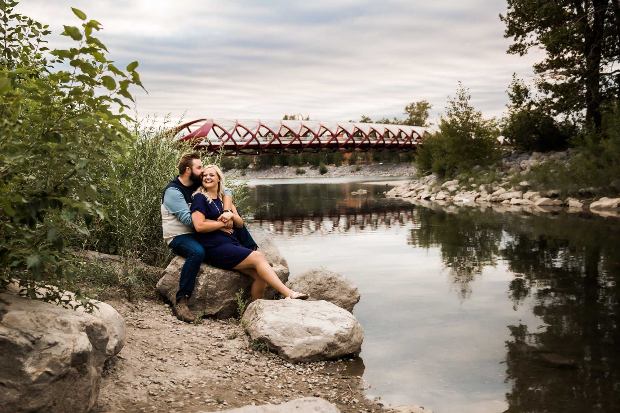 Calgary wedding photographer, engagement photos at Prince's Island Park, downtown Calgary, couple at sunset